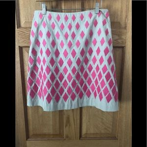 Boden Tan Pink Lined Fancy A-Line Skirt 8